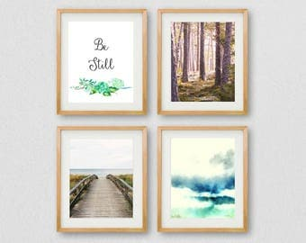 Be Still Quote Wall Art, Meditation Prints, Gallery Wall Prints, Forest Prints, Floral Art, Forest Photography, Instant Download, Woodland