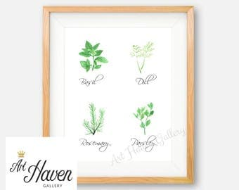 Kitchen Herb Wall Art, Herb Printable, Watercolor Herbs, Kitchen Decor, Herb Poster, Herb Wall Sign, Kitchen Wall Art, Herb Decor, Basil