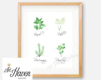 Kitchen Herb Wall Art, Herb Printable, Watercolor Herbs, Kitchen Decor, Herb Poster, Herb Wall Sign, Kitchen Wall Art, Herb Decor, Basil