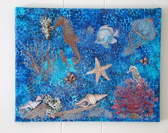 Under the sea mixed media collage #11x14 collage #mixed media art #seahorse #fish #underwater scene #sand #dried plants #starfish #wall art