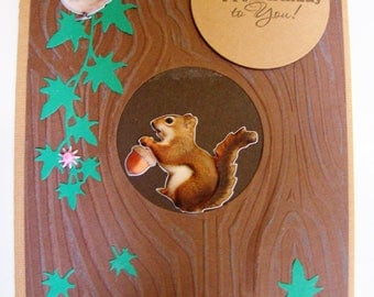 5x7 handmade birthday card with squirrel in tree hole. #birthdaycard #handmadecard #papercrafting #treecard #squirrelcard #happybirthdaycard