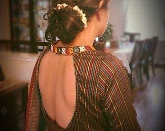 Readymade saree blouse designer finish in woven handloom silk