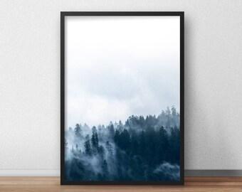 Indigo Forest Printable, Abstract Indigo Forest, Indigo Print, Landscape Printable, Blue Wall Art, Indigo Art, Abstract Printable Home Decor