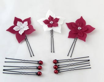Set of 9 eco-friendly hair flower, white and Burgundy beads - customizable