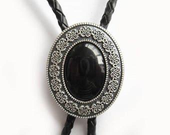 Western Bolo Tie Black Agate Stone Oval Pendant Design Genuine Leather Celtic Neck TIe