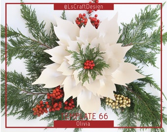 PDF Paper Flowers, Paper Poinsettia Flower, ChristmasDecor, Giant Paper Flower, Christmas flower, Base/Instruction Including