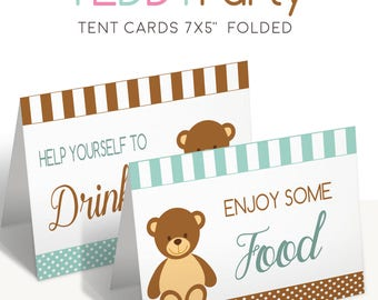 Baby shower cards, Buffet tent cards, Printable food tags, Printable teddy party, Teddy baby shower, Boy baby shower, Boy baby shower ideas