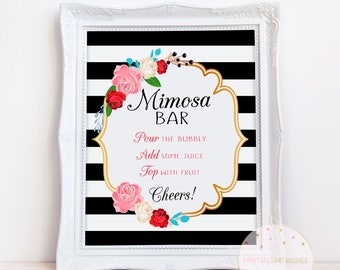 Printable mimosa bar sign, Kate spade bridal shower, Bachelorette party signs printable, Bridal shower bar sign, Bubbly bar sign, PAW100