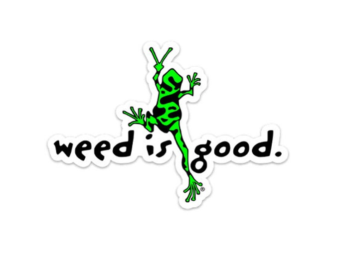 Weed Frog Peace Sticker