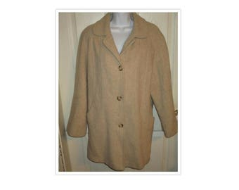 Herman Kay Beige Wool Coat Sz 12