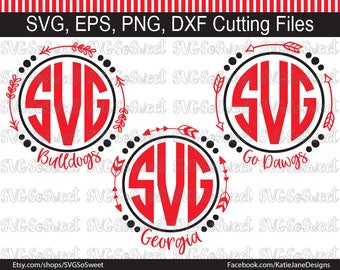 Georgia Bulldogs svg, Georgia svg, GA Football svg, Arrow Monogram Frame, Go Dawgs svg, SVG, Png, Eps, Dxf, Silhouette Cutting Files