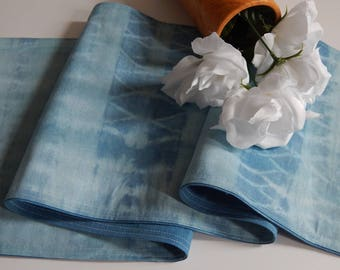 Blue Reversible Table Runner-Tie Dye Reversible Table Runner-Spring Table Linen-Winter Table Runner-Winter Tablescape