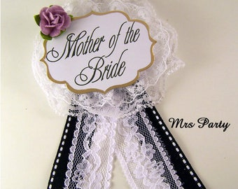 Mother of The Bride Corsage Bridal Shower Badge Bridal Party Pins Mother of The Groom Corsage Bridal Shower Pins