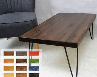 Rustic/Vintage/Industrial Wood Coffee Table with Metal Hairpin Legs