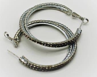 Rhinestone Hoop Earrings- Vintage