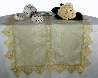 Ivory damask table with lace Strip