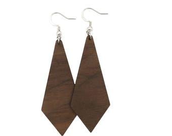 Walnut Diamond Earrings, wood earrings, wooden earrings, lightweight earrings, natural wood earrings, casual earrings, organic earrings