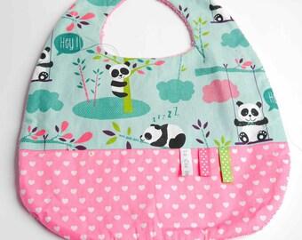 "Double fabric baby bib Terry ""pandas"""