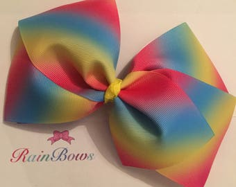 Large Bright Rainbow Boutique Bow
