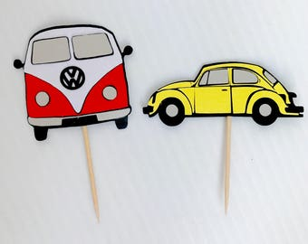 Volkswagen Cupcake Toppers / VW Bus Cupcake Toppers / VW Bug Cupcake toppers / Automobiles cake decorations / Beetle cake decorations /