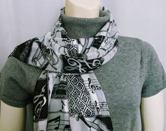 Vtg Music Scarf/Music Notes Scarf/Musical Instruments Scarf/Long Black and White Scarf/Music Symbols Scarf/Gift For Her/No.330