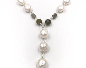 Long labradorite and pearl Y necklace