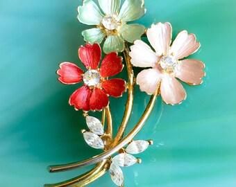 Enamel Flower Pin | Flower Brooch | Flower Jewelry | Floral Jewelry | Nature Jewelry | Birthday Gifts | Rhinestone Jewelry | Vintage Jewelry