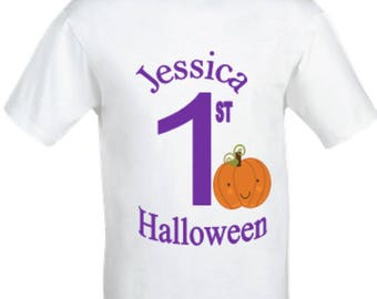 First Halloween baby shirt,First Halloween baby-grow,Girl's first halloween,Babies first halloween pumpkin shirt,custom babygrow,