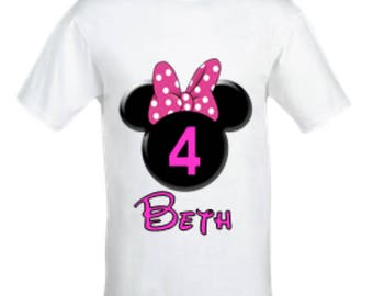 Minnie mouse Birthday shirt,Girl's Minnie Mouse shirt,Personalised birthday shirt, Custom Minnie mouse shirt,Any Age, Any Name.