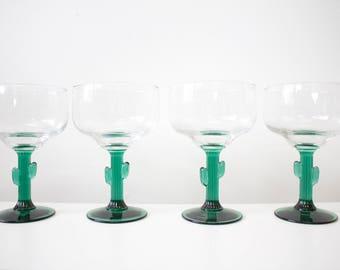 Cactus Green Margarita Glasses -