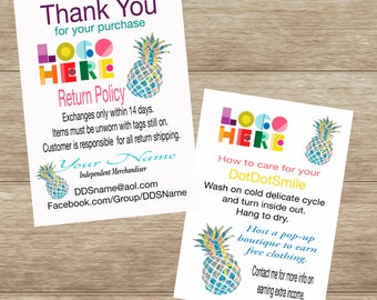 Pineapple Thank You/Care Card, Customized and Double Sided DotDotSmile