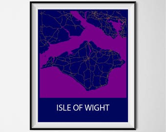 Isle Of Wight Map Poster Print - Night