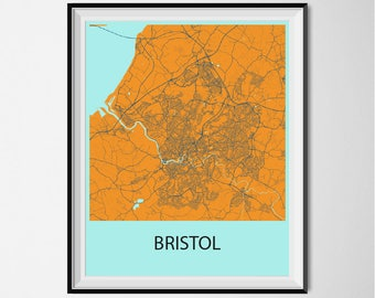 Bristol Map Poster Print - Orange and Blue