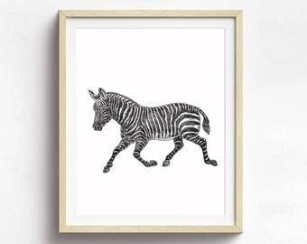 Zebra Poster, Animal Print, Nursery Art, Zebra Art, Circus Poster