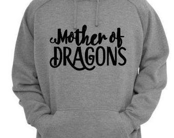 Mother of Dragons Game of Thrones Unisex Hoodie Pullover Hooded Sweatshirt Many Sizes Colors Custom Horror Halloween Merch Massacre