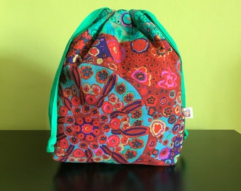 "Handmade drawstring bag / pouch for knitting crochet project 9.5"" x 6.5"" x 3.5""  *KFC colourplash*"