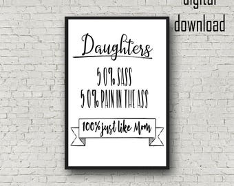 Daughter Printable.  Daughters Quote.  Funny Quote.  Poster Size Digital Download.  Mom Quotes.  Home Decor Instant Download.