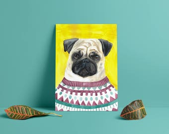 Pug in an Icelandic sweater 30cm X 40cm art print on glossy 300g paper