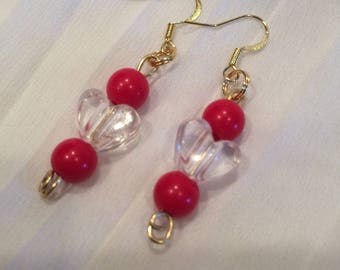 Earrings - Red and Clear Beads