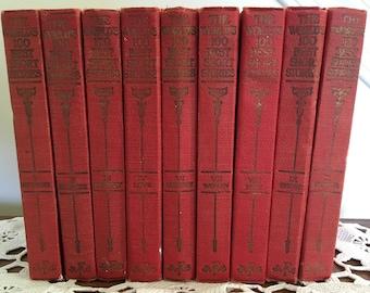 The World's 100 Best Short Stories Volumes I-IV, VI-X ~ Red Books ~ Library Books ~ Vintage Books ~ Home Decor ~ Library Decor ~ Old Books