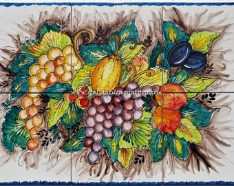 Still Life of Italian Country Handpainted Backsplash Mural Tile Ceramic Backsplash Mural Tile handmade and handpainted . Custom for You!!
