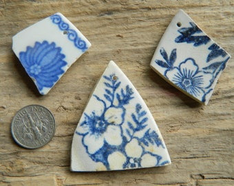 3 Drilled sea pottery shards for pendants, crafts ect