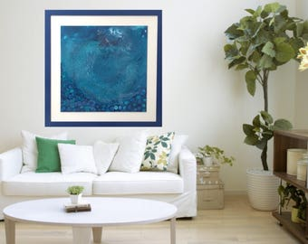 Sold - Paradise, blue, turquoise, teal, Indigo, calm, sea, abstract art, ink, resin, 2x2ft, 24x24inch,sold privatly