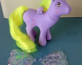 Vintage 1986 G1 Hasbro My Little Pony Yum Yum with Reproduction Wings, Yumyum, MLP