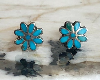 Native American Sterling Silver Turquoise Inlay Flower Screw Back Earrings, Turquoise Earrings, Native American Earrings, Stud Earrings