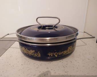 Vintage Enamelware Casserole Stock Pot - Depositata Siltal Italy Made 1960s