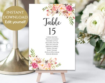 Wedding Seating Chart Template Seating Cards Seating Chart Sign Editable Seating Chart Printable Templates Editable Signs Pastel Blooms