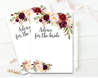 Advice For The Bride Bridal Shower Advice Card Printable Advice Cards Boho Chic Advice Card Bride-to-be Advice PDF Instant Download DIY