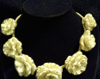 Hand Sewed Lime Green Flower Necklace #205