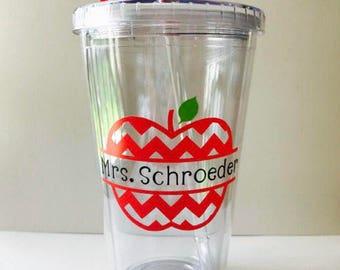 Personalized Teacher Tumbler, Chevron Apple Cup, Teacher Name, Acrylic Tumbler, Teacher Gift, Teacher Appreciation, End of School Year